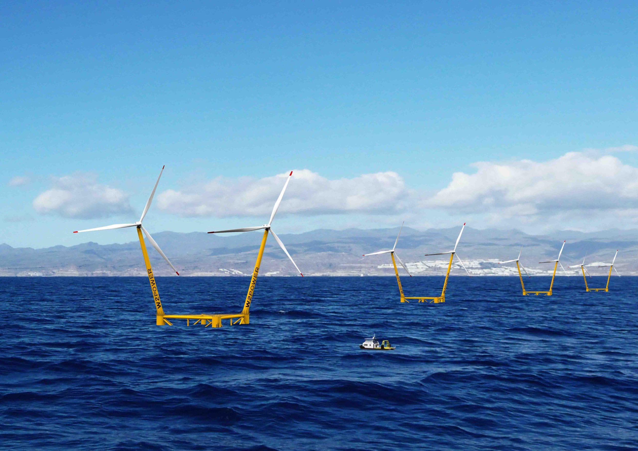 Enerocean lanza dos proyectos de 180MW de eólica marina flotante con la plataforma W2Power en Gran Canaria