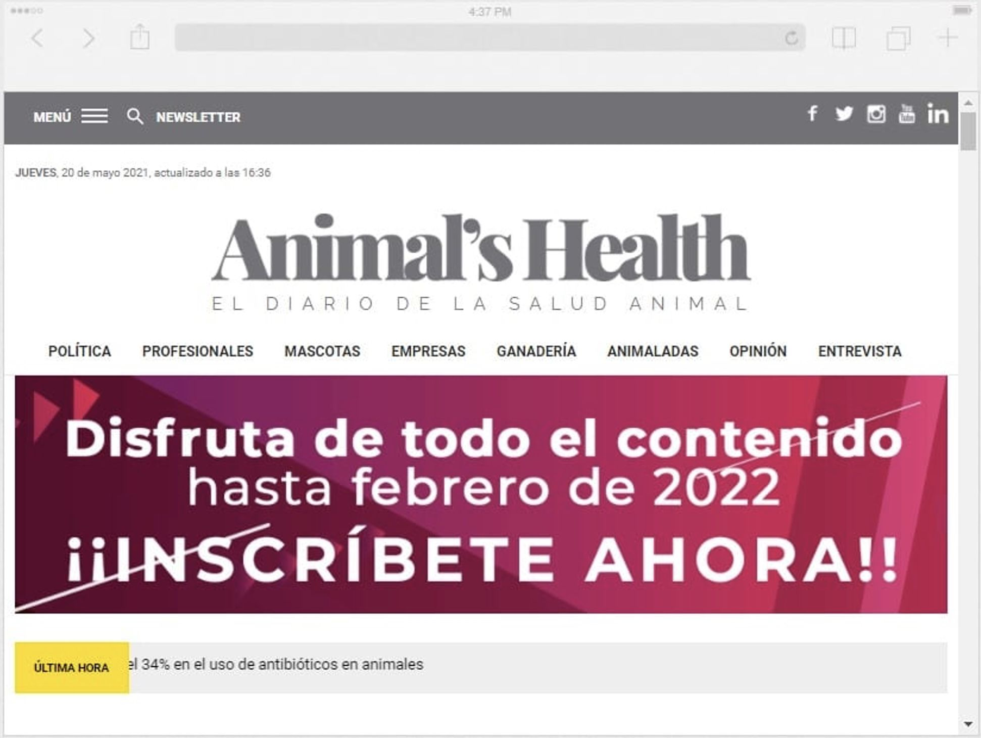 El diario veterinario Animal's Health estrena nueva imagen y mejoras en su diseño
